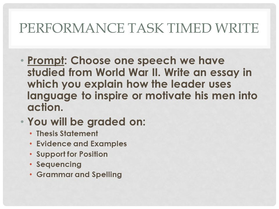 PERFORMANCE TASK TIMED WRITE Prompt: Choose one speech we have studied from World War II.