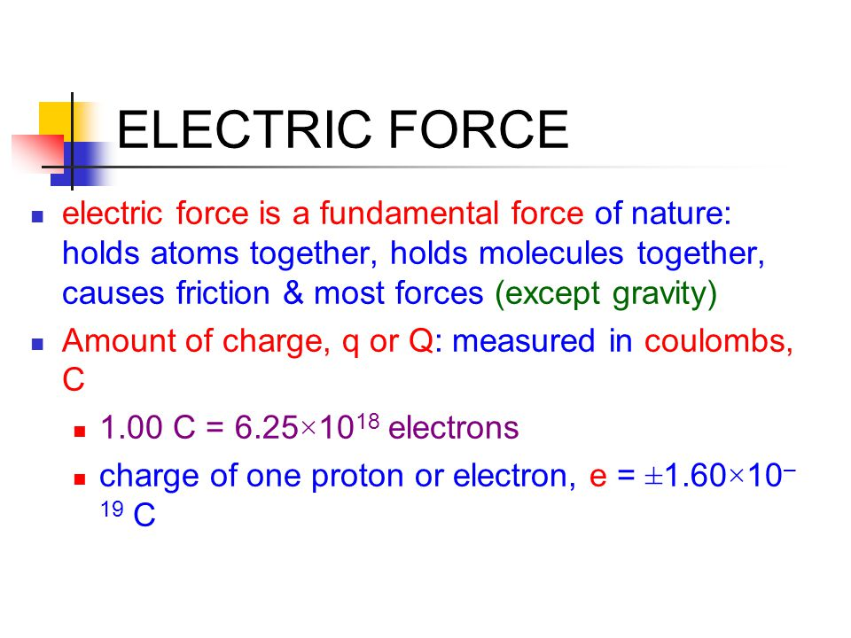 ELECTRIC FORCE electric force is a fundamental force of nature: holds atoms together, holds molecules together, causes friction & most forces (except
