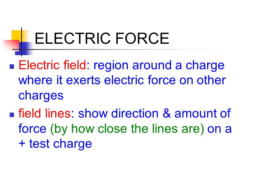 ELECTRIC FORCE Electric field: region around a charge where it exerts electric force on other charges field lines: show direction & amount of force (b