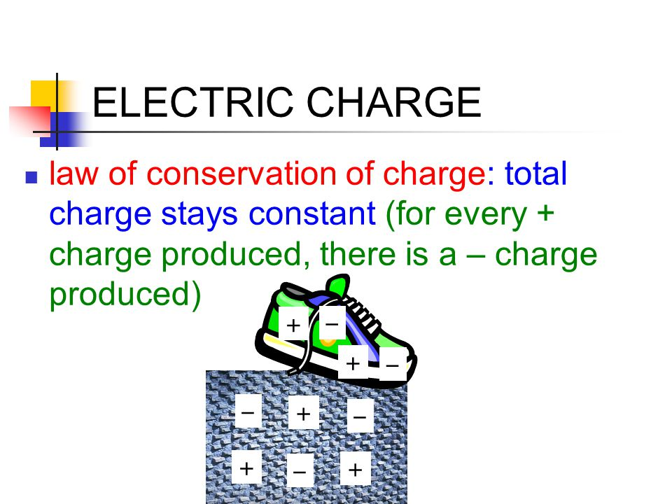 ELECTRIC CHARGE Grounding: discharging by connecting to a large charge sink (such as earth) Charge Distribution: only on the surface; spreads evenly on spherical conductor; stays put on insulator; concentrates at points Spark Discharge: when charge is large enough, air ionizes and conducts the charge away (lightning)