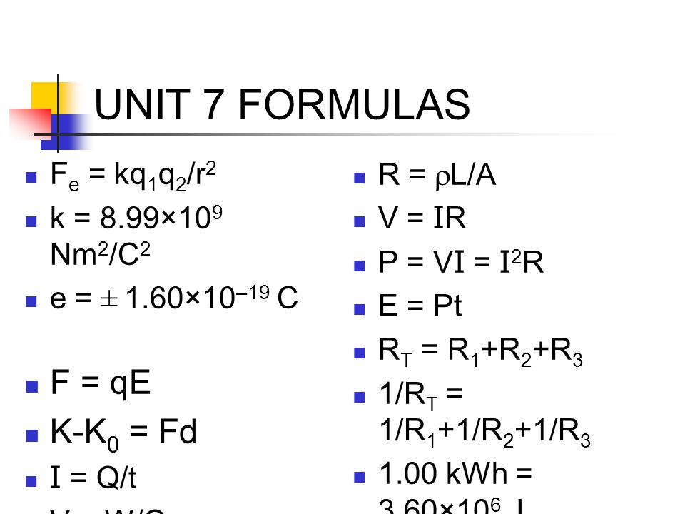 UNIT 7 FORMULAS F e = kq 1 q 2 /r 2 k = 8.99×10 9 Nm 2 /C 2 e = ± 1.60×10 –19 C F = qE K-K 0 = Fd I = Q/t V = W/Q R =  L/A V = I R P = V I = I 2 R E = Pt R T = R 1 +R 2 +R 3 1/R T = 1/R 1 +1/R 2 +1/R kWh = 3.60×10 6 J