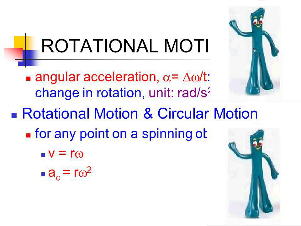 ROTATIONAL MOTION angular acceleration,  =  /t: rate of change in rotation, unit: rad/s 2 Rotational Motion & Circular Motion for any point on a sp