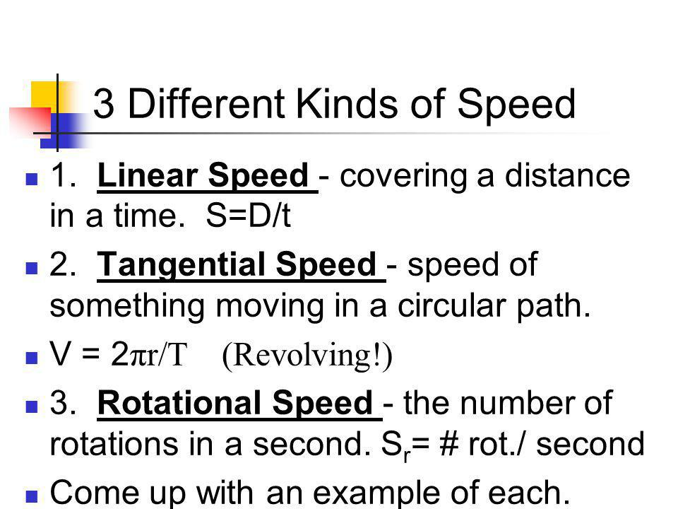 3 Different Kinds of Speed 1.Linear Speed - covering a distance in a time.