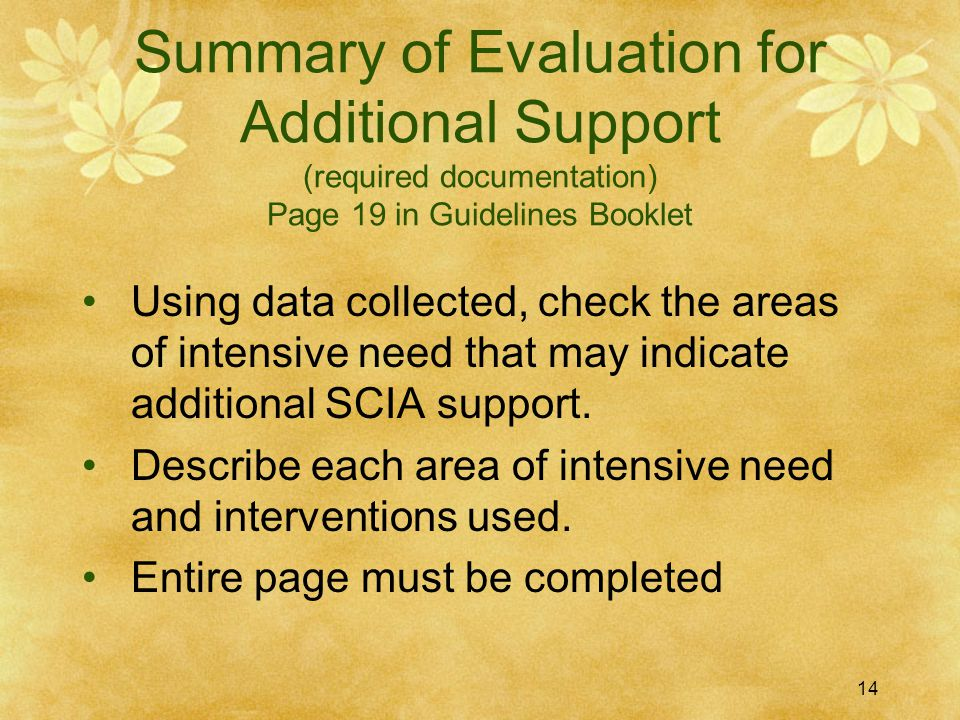 Summary of Evaluation for Additional Support (required documentation) Page 19 in Guidelines Booklet Using data collected, check the areas of intensive