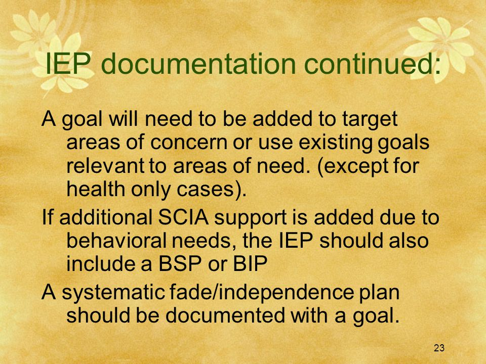 IEP documentation continued: A goal will need to be added to target areas of concern or use existing goals relevant to areas of need. (except for heal