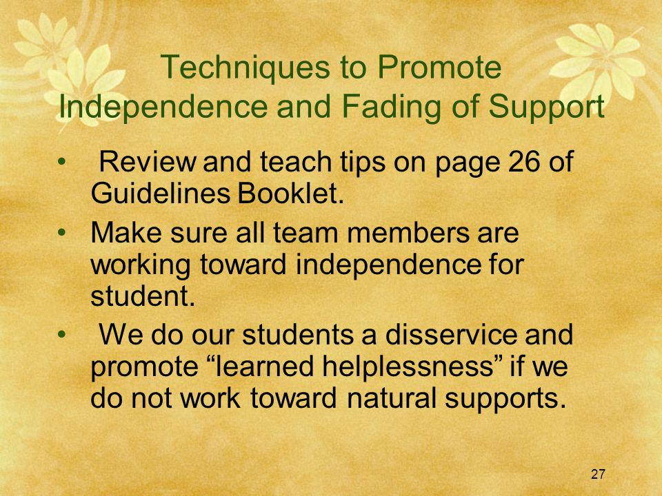 Techniques to Promote Independence and Fading of Support Review and teach tips on page 26 of Guidelines Booklet. Make sure all team members are workin