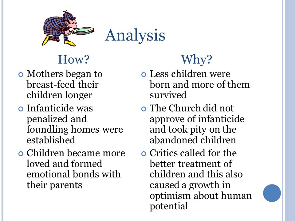 Analysis How? Mothers began to breast-feed their children longer Infanticide was penalized and foundling homes were established Children became more l