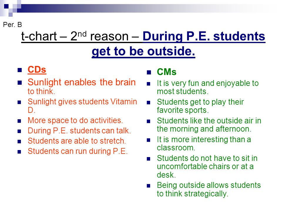 t-chart – 2 nd reason – During P.E. students get to be outside. CDs Sunlight enables the brain to think. Sunlight gives students Vitamin D. More space