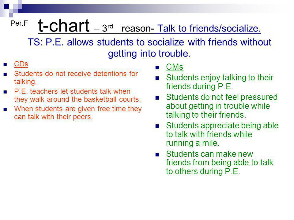 t-chart – 3 rd reason- Talk to friends/socialize. TS: P.E. allows students to socialize with friends without getting into trouble. CDs Students do not