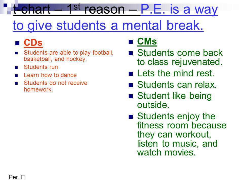 t-chart – 1 st reason – P.E. is a way to give students a mental break.