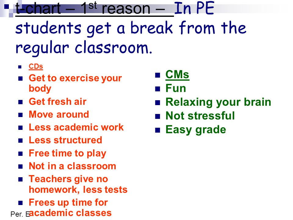 t-chart – 1 st reason – In PE students get a break from the regular classroom.