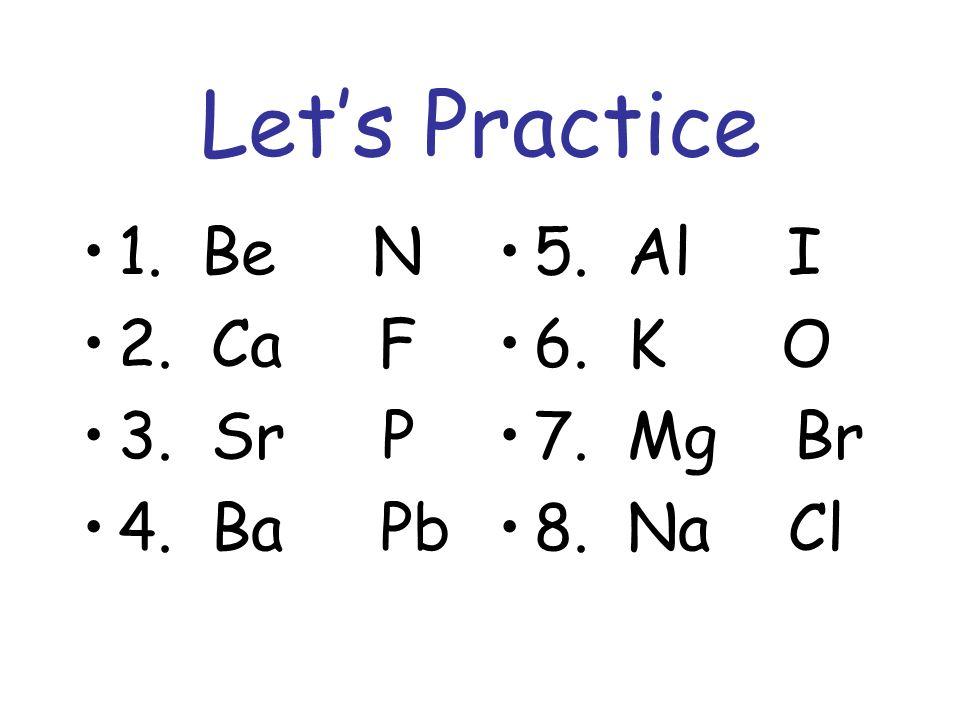 Let's Practice 1. Be N 2. Ca F 3. Sr P 4. Ba Pb 5. Al I 6. K O 7. Mg Br 8. Na Cl
