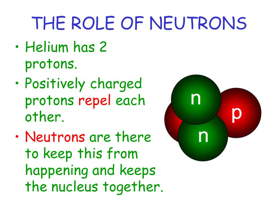 THE ROLE OF NEUTRONS Helium has 2 protons. Positively charged protons repel each other. Neutrons are there to keep this from happening and keeps the n