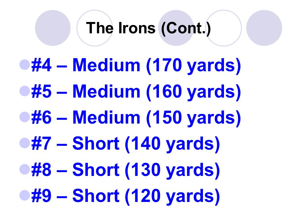 The Irons (Cont.) #4 – Medium (170 yards) #5 – Medium (160 yards) #6 – Medium (150 yards) #7 – Short (140 yards) #8 – Short (130 yards) #9 – Short (120 yards)