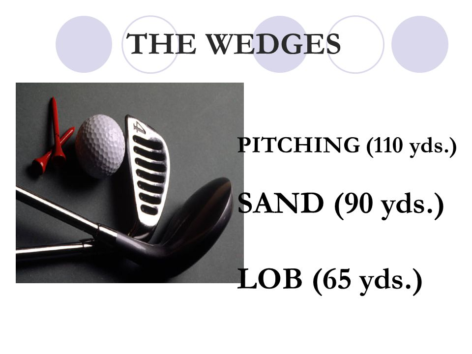 THE WEDGES PITCHING (110 yds.) SAND (90 yds.) LOB (65 yds.)