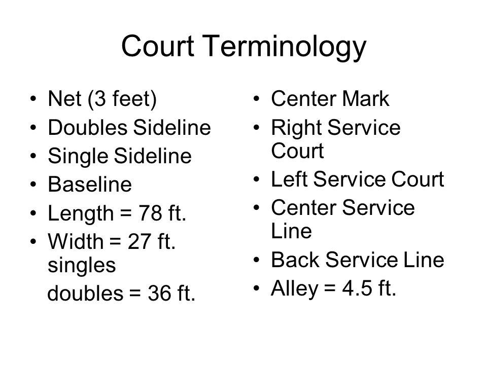 Court Terminology Net (3 feet) Doubles Sideline Single Sideline Baseline Length = 78 ft.