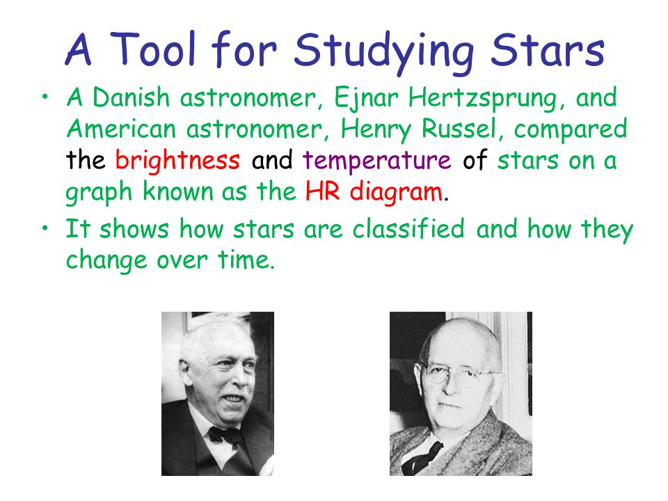 A Tool for Studying Stars A Danish astronomer, Ejnar Hertzsprung, and American astronomer, Henry Russel, compared the brightness and temperature of stars on a graph known as the HR diagram.