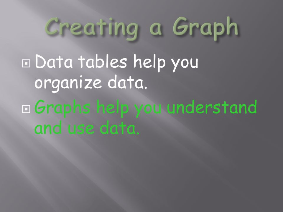  Data tables help you organize data.  Graphs help you understand and use data.