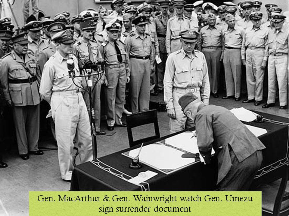 Gen. MacArthur & Gen. Wainwright watch Gen. Umezu sign surrender document