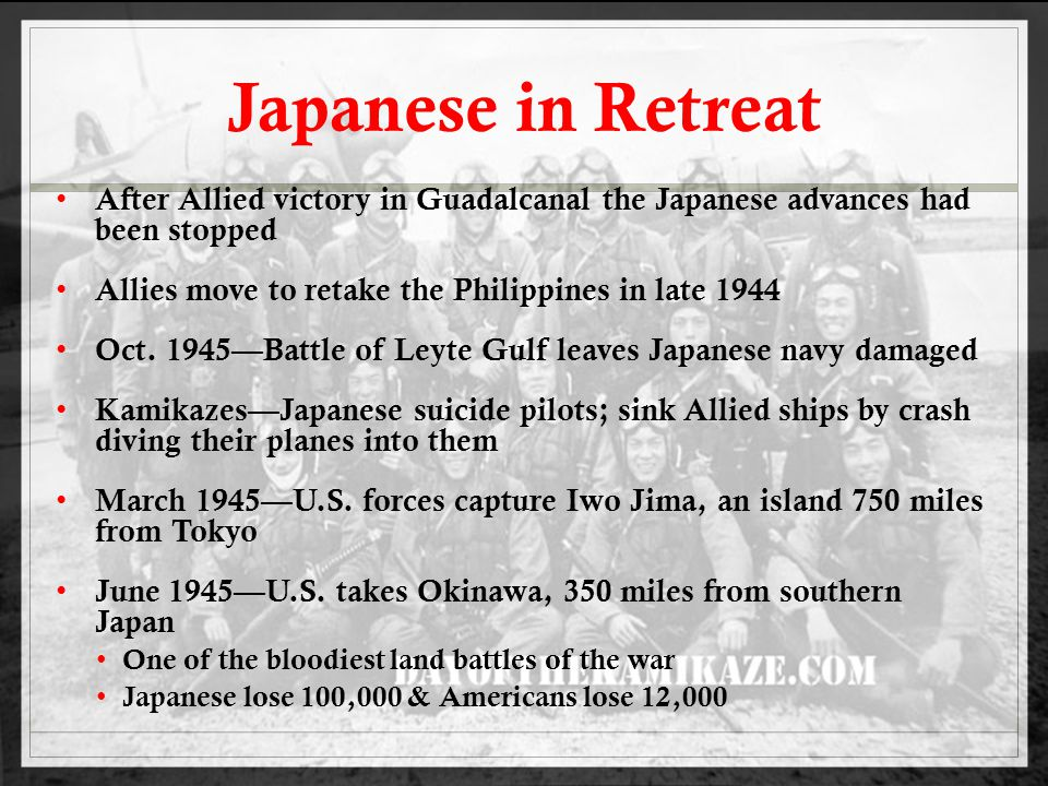 Japanese Surrender Truman's advisors estimate half a million could be lost in an invasion of Japan Atomic bomb is the alternative to bring war to quickest end possible Manhattan Project—secret program to develop the bomb August 6, 1945—dropped on Hiroshima ; 80,000 dead August 9, 1945—dropped on Nagasaki; 70,000 dead September 2, 1945— V-J Day; Japanese surrender to MacArthur on the USS Missouri in Tokyo Bay