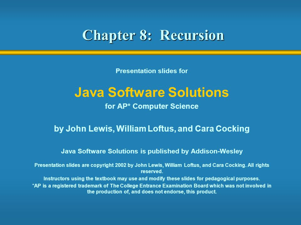 2 Recursion  Recursion is a fundamental programming technique that can provide elegant solutions certain kinds of problems  Chapter 8 focuses on: thinking in a recursive manner programming in a recursive manner the correct use of recursion examples using recursion recursion in sorting recursion in graphics