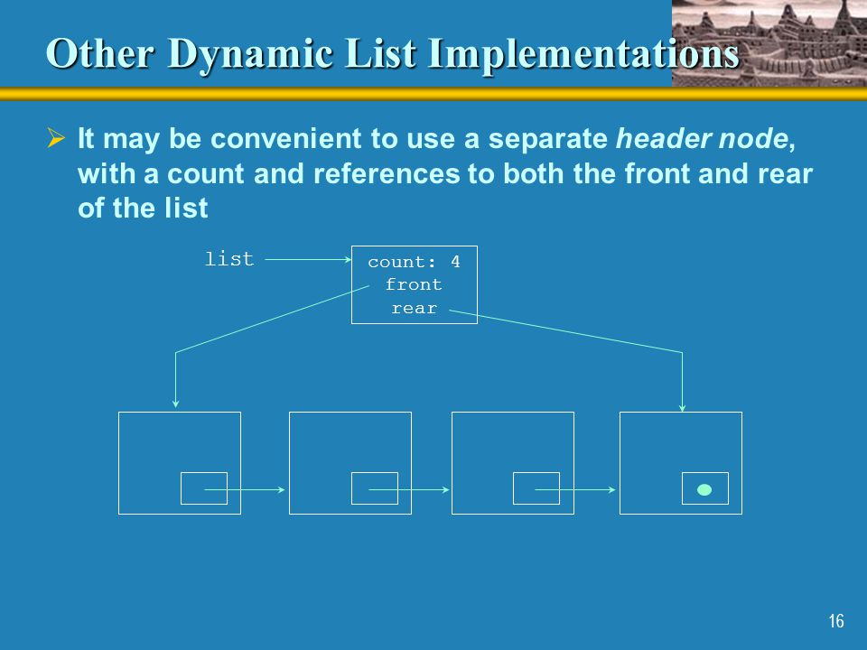 16 Other Dynamic List Implementations  It may be convenient to use a separate header node, with a count and references to both the front and rear of