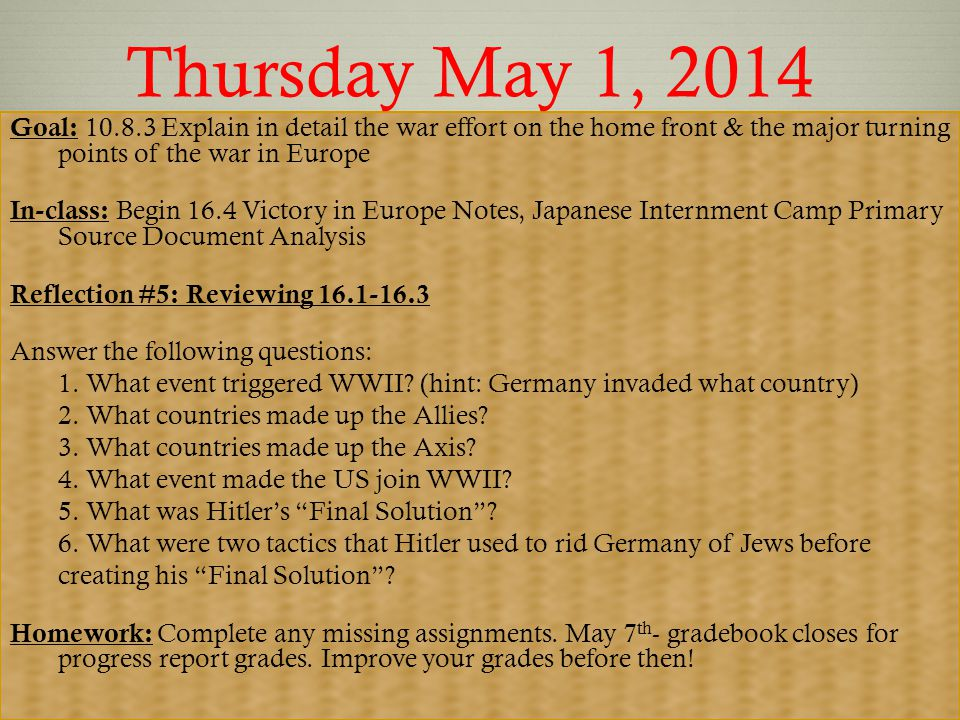 Part I: 16.4 Allied Victory in Europe Ms. Wyatt Spring 2014