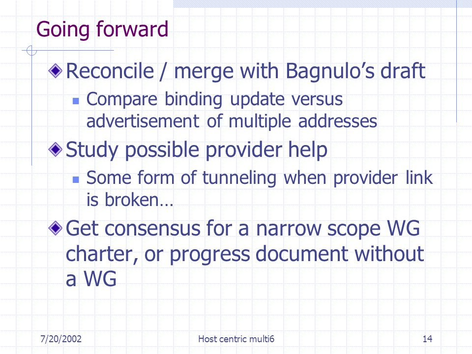 7/20/2002Host centric multi614 Going forward Reconcile / merge with Bagnulo's draft Compare binding update versus advertisement of multiple addresses Study possible provider help Some form of tunneling when provider link is broken… Get consensus for a narrow scope WG charter, or progress document without a WG