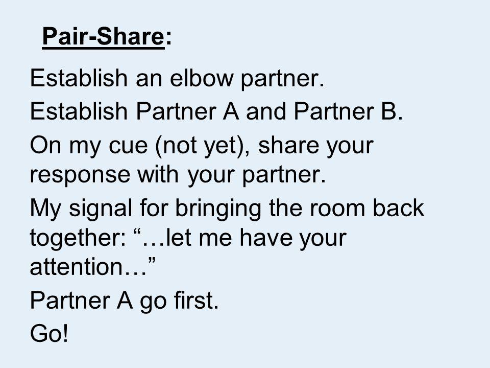 Pair-Share: Establish an elbow partner. Establish Partner A and Partner B.