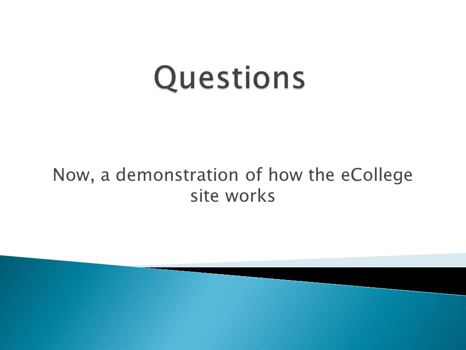 Now, a demonstration of how the eCollege site works