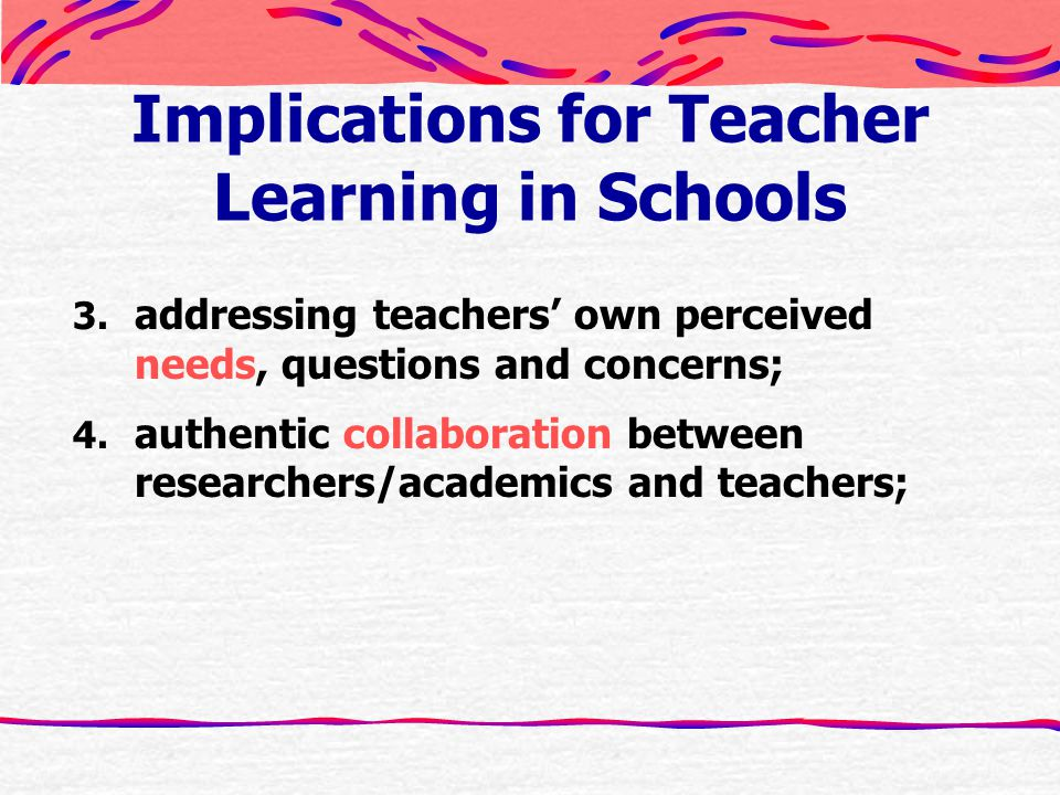 Implications for Teacher Learning in Schools 3.