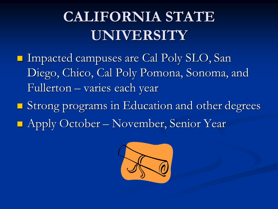 CALIFORNIA STATE UNIVERSITY Impacted campuses are Cal Poly SLO, San Diego, Chico, Cal Poly Pomona, Sonoma, and Fullerton – varies each year Impacted c