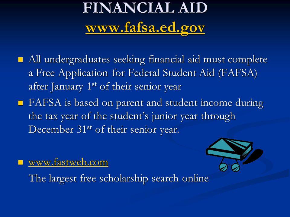 FINANCIAL AID www.fafsa.ed.gov www.fafsa.ed.gov All undergraduates seeking financial aid must complete a Free Application for Federal Student Aid (FAF