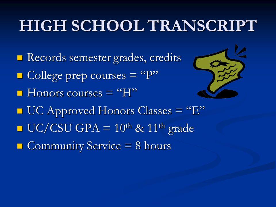 "HIGH SCHOOL TRANSCRIPT Records semester grades, credits Records semester grades, credits College prep courses = ""P"" College prep courses = ""P"" Honors"