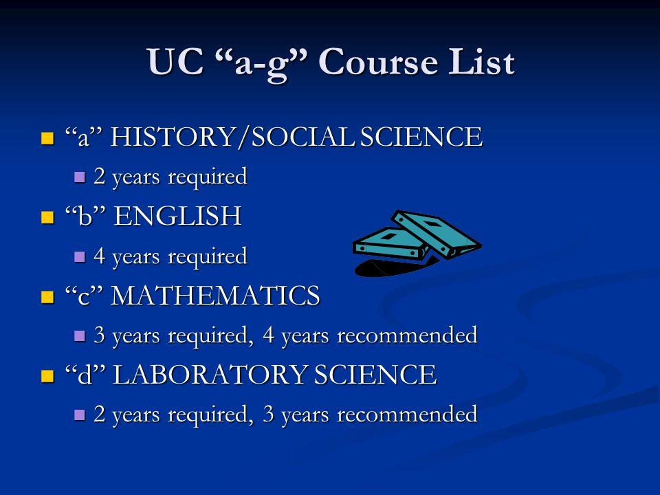 "UC ""a-g"" Course List ""a"" HISTORY/SOCIAL SCIENCE ""a"" HISTORY/SOCIAL SCIENCE 2 years required 2 years required ""b"" ENGLISH ""b"" ENGLISH 4 years required"