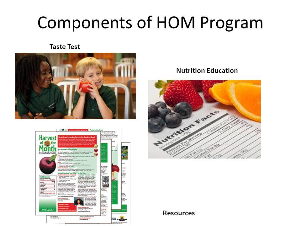 Components of HOM Program Taste Test Nutrition Education Resources