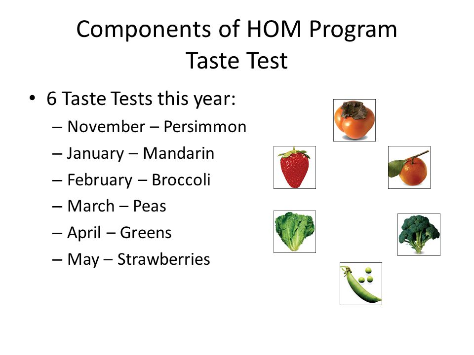 Components of HOM Program Taste Test 6 Taste Tests this year: – November – Persimmon – January – Mandarin – February – Broccoli – March – Peas – April