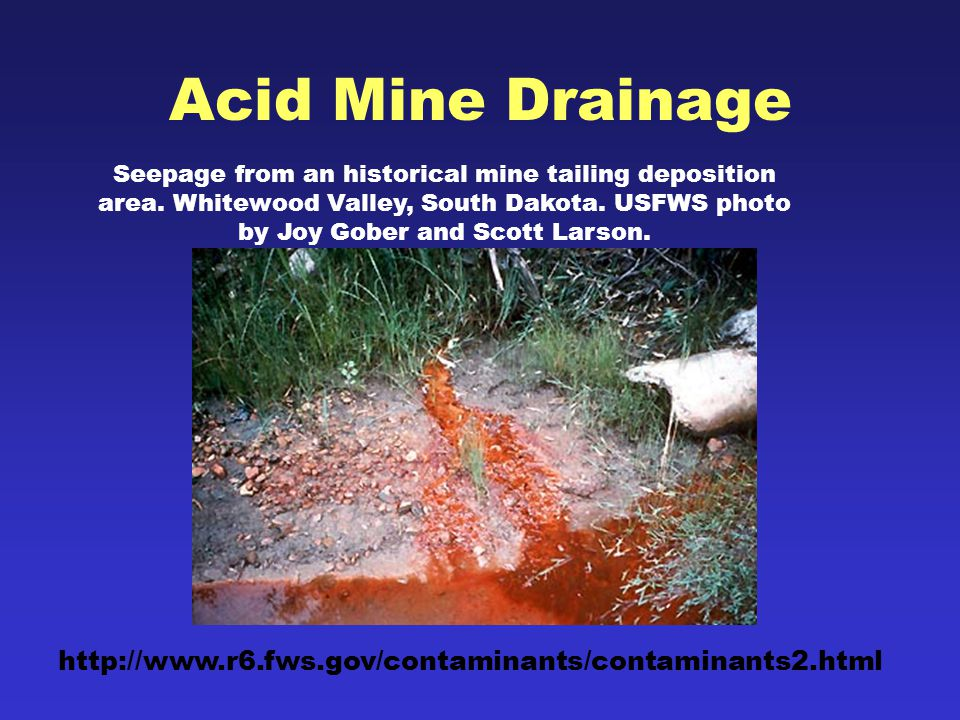 Acid Mine Drainage Seepage from an historical mine tailing deposition area.
