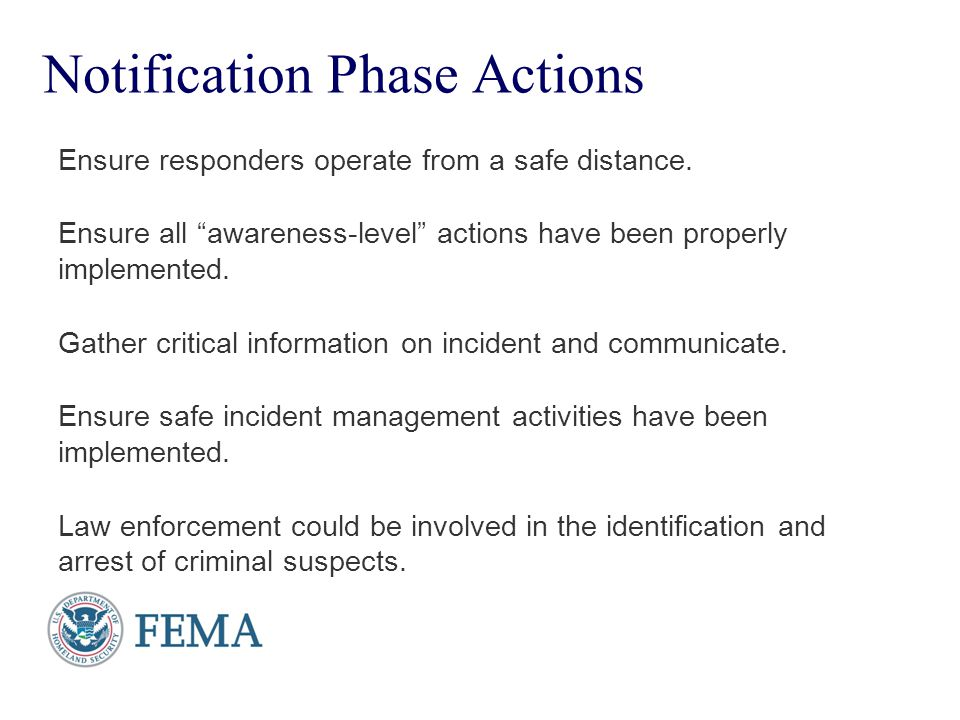 Presenter's Name June 17, 2003 Response Phase Begins with incident management.