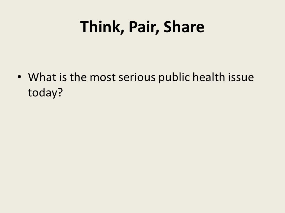 Think, Pair, Share What is the most serious public health issue today?