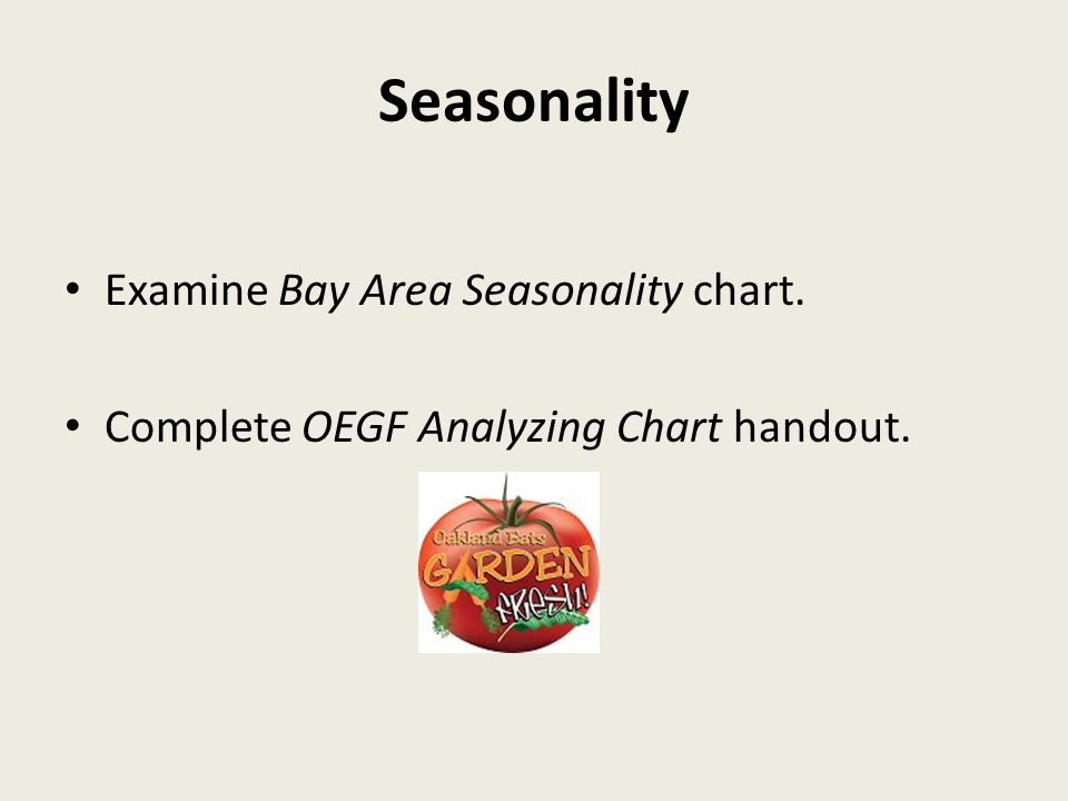 Seasonality Examine Bay Area Seasonality chart. Complete OEGF Analyzing Chart handout.