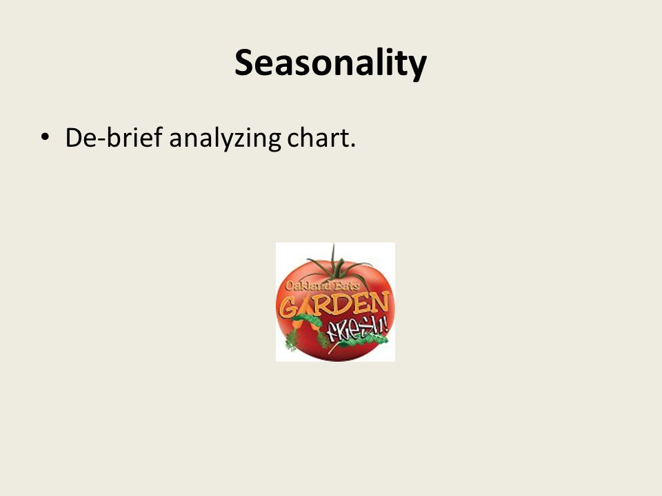 Seasonality De-brief analyzing chart.