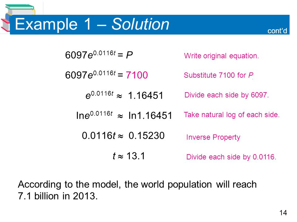 14 Example 1 – Solution 6097e 0.0116t = P 6097e 0.0116t = 7100 e 0.0116t  1.16451 Ine 0.0116t  In1.16451 0.0116t  0.15230 t  13.1 According to the