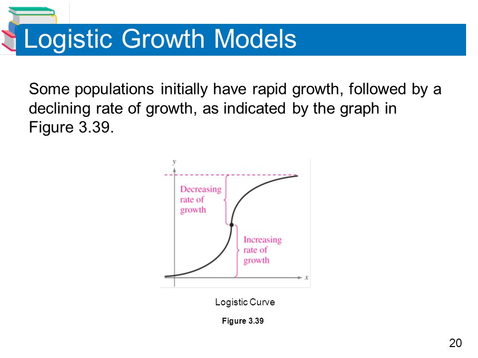 20 Logistic Growth Models Some populations initially have rapid growth, followed by a declining rate of growth, as indicated by the graph in Figure 3.