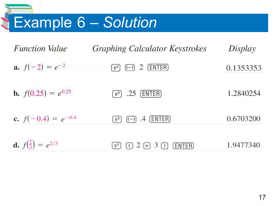 17 Example 6 – Solution