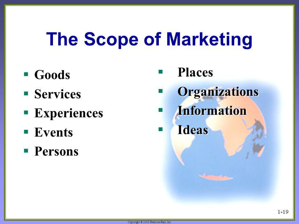 Copyright © 2003 Prentice-Hall, Inc. 1-19 The Scope of Marketing  Places  Organizations  Information  Ideas  Goods  Services  Experiences  Eve