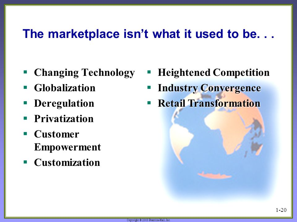 Copyright © 2003 Prentice-Hall, Inc. 1-20 The marketplace isn't what it used to be...  Changing Technology  Globalization  Deregulation  Privatiza