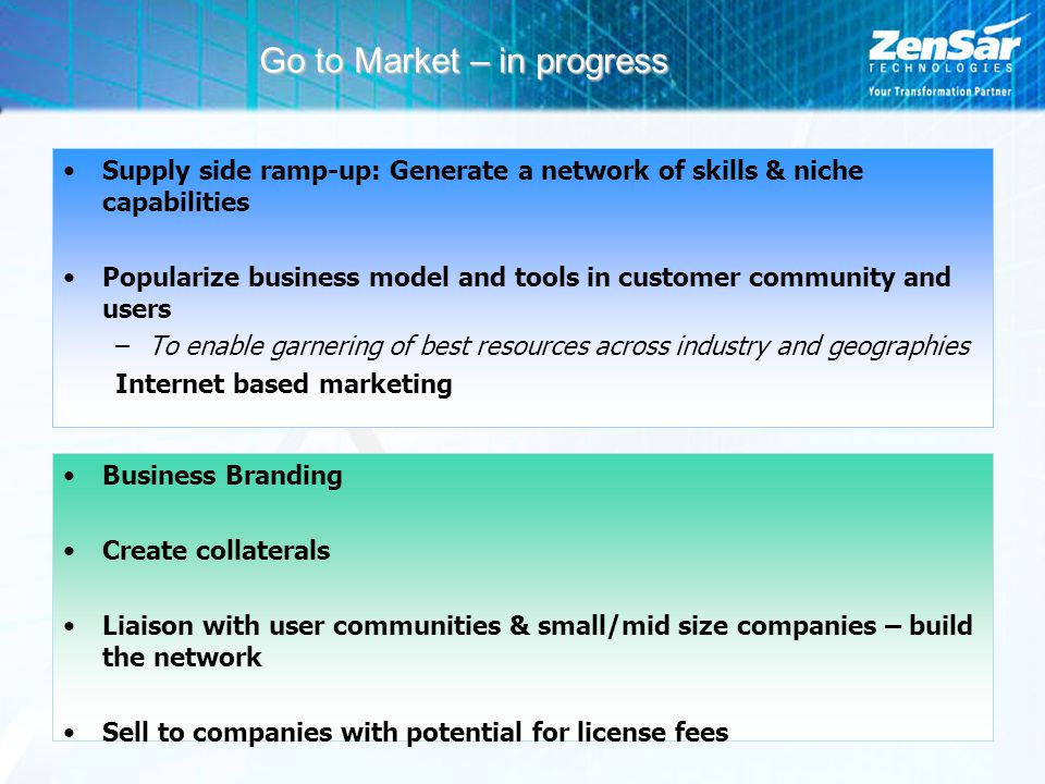 Go to Market – in progress Supply side ramp-up: Generate a network of skills & niche capabilities Popularize business model and tools in customer comm