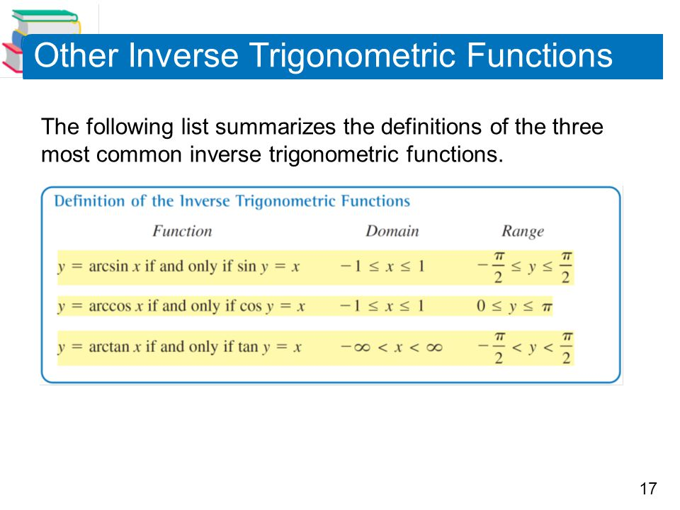 17 Other Inverse Trigonometric Functions The following list summarizes the definitions of the three most common inverse trigonometric functions.