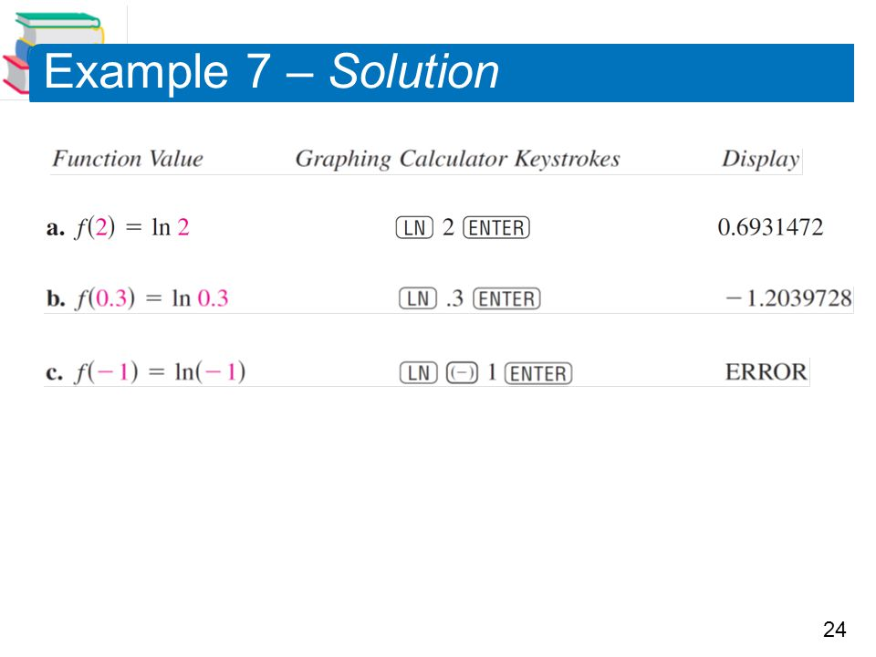 24 Example 7 – Solution